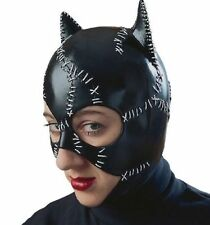 LICENSED CATWOMAN BATMAN RETURNS SUPERHERO BLACK ADULT COSTUME LATEX MASK 12442
