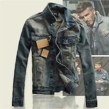 2016 UK mens vintage moto biker denim leather jacket coat jeans Lapel Outwear