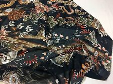 ROBERTO CAVALLI 100% viscose chiffon fabric.... made in Italy,  180 x 145 cm