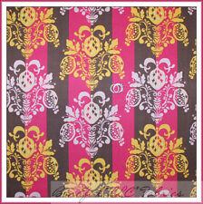BonEful Fabric Cotton Quilt VTG Pink Brown Gold Flower Leaf Damask Stripe SCRAP