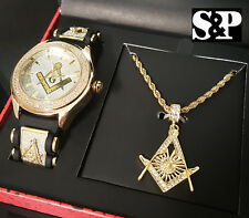 MENS HIP HOP ICED OUT GOLD PT CZ FREE MASON MASONIC WATCH & NECKLACE COMBO SET