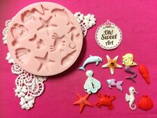 Mermaid and Sea Set  Seascape silicone mold fondant cake decorating cupcake FDA