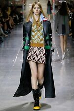 MIU MIU F/W 2014 RUNWAY Black Calf Skin Leather Raincoat Jacket Coat IT40/US6