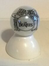 THE BEATLES DRUM LOGO ON WHITE PEARL MARBLE