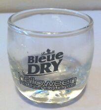LABATT BLEUE DRY SMALL BEER GLASS  HALLOWEEN HAUTE FREQUENCE  2 1/8 inches tall