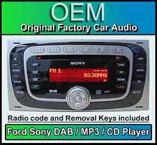 Ford Kuga Dab radio estéreo de coche, Ford Sony Dab Cd Mp3 Player Con Retiro Llaves