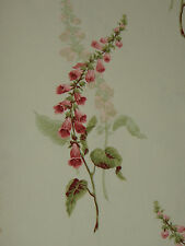 "SANDERSON CURTAIN FABRIC DESIGN ""Foxgloves"" 1.75 METRES BUTTERMILK & RASPBERRY"