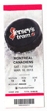 2013 DEVILS VS MONTREAL CANADIENS FULL TICKET STUB 3/16/13 JARRED TINORDI DEBUT