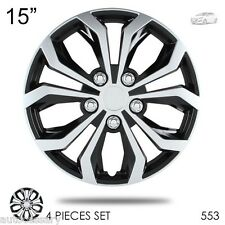 "New 15"" Hubcaps Spyder Performance Black and Silver Wheel Covers For Hyundai 553"