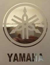 "Yamaha drums drumhead logo,, die cut decal, sticker, CHROME 6""X4.6"""