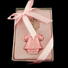 "Set of 12 ""Girl"" Pink Coat Key Chain Favors Lunaura Keepsake Baby Shower Gifts"