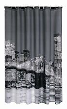 NEW POLYESTER WHITE BLACK GREY NEW YORK BROOKLYN BRIDGE NOVELTY SHOWER CURTAIN