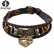 Fine Jewelry Retro Beads Wrap Leather Heart With I Love You Cuff Bracelets Men
