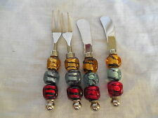 Lovely colorful art glass handle  snack cheese set 4pc set, Murano?