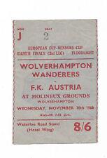 Billete 1960/61 Copa Taza de ganadores Europea-Wolverhampton Wanderers V. FK Austria