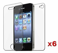 12pcs 6x (Front Back) Full Screen Protector Cover Film for Apple iPhone 4 4G 4S
