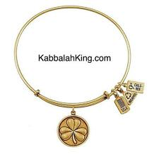 Wind & Fire Four Leaf Clover Charm Gold Expandable Bangle Bracelet Made In USA