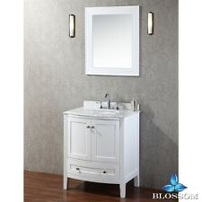 """BLOSSOM 30"""" ROME SINGLE SINK BATHROOM VANITY WITH MARBLE TOP, WHITE FINISH"""