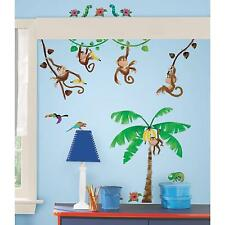 MONKEY BUSINESS stickups 40 decals banana tree vines scrapbook wall stickers