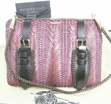 $1,695 Burberry Prorsum Beetroot Woven Clutch Women Hand Shoulder Bag Wallet A