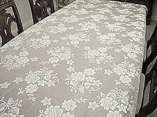 Tablecloths Rose Bouquet 52X70 White Rectangle Tablecloth Oxford House NWT