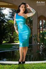 "PINUP COUTURE ""Vivian"" One Shoulder Wiggle Dress Bright Blue Pinup sz XL NEW"