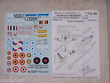 "DECALS Carpena 1/72ème de Haviland   ""MOSQUITO"" part.1  ref.72.30"
