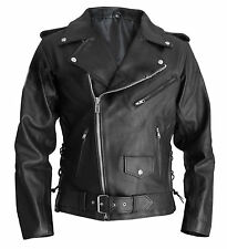Men's Terminator Style Black Genuine Real Leather Biker Gang Slim Fit Jacket
