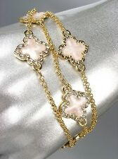 NEW 18kt Gold Plated Chains White Enamel Clover Clovers CZ Crystals Bracelet