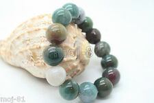 14mm Multi Color Chinese Natural Jade Jadeite Elastic Bead Bangle Bracelet