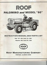 ROOF MODEL 60 PALOMINO LAWN MOWER TRACTOR MANUAL and PARTS LIST on CD