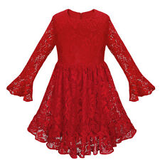 Girls Toddler Lace Long Sleeve Bow Party Pageant Vintage Flower Top Formal Dress