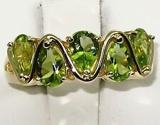 Estate 14k y.gold ring with 4x6mm high quality Peridot, t.w 5.10gram, size 7