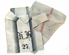 Two French Grain Sacks Hemp Linen Blend, Early 20th Century