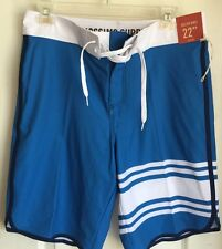 """Mossimo Blue White Striped Tie Front 22"""" Below Knee Board Shorts Men's 32"""