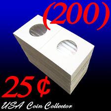 (200) Quarter Size 2x2 Mylar Cardboard Coin Flips for Storage | 25 Cent Holder