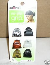 H5 SCUNCI NO SLIP GRIP ALL DAY HOLD MINI JAW HAIR CLIPS 6 PACK # 38056-A