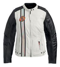 Harley Davidson Women's CHASE Waterproof White Black Leather Jacket 97165-13VW S