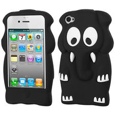 For iPhone 4 4S Rubber SILICONE Skin Soft Gel Case Phone Cover Black Elephant