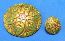 Awesome STAR Mother Daughter Antique ENAMEL on Brass Metal Buttons