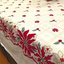 "VIntage Martha Stewart Christmas Holiday Tablecloth Poinsettias 62"" X 94"""