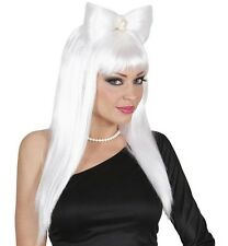 Ladies Long Straight White Wig Fringe Bangs Bow Glam Rock Sexy Hen Fancy Dress