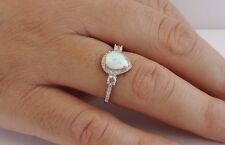 PEAR OPAL CENTER HALO RING W/ LAB DIAMONDS /OPAL /SZ 5 - 9 / 925 STERLING SILVER