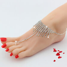 Wedding CRYSTAL Chain Barefoot Beach Sandals Bridal Foot Ring Jewelry Bridesmaid