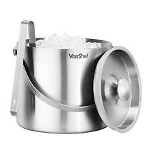 VonShef 3 L Double Walled Insulated Stainless Steel Ice Bucket with Lid, Carr...