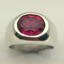 MJG STERLING SILVER MEN'S RING.12 X 10mm OVAL LAB RUBY FACETED. SZ 10.5