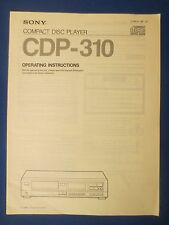 SONY CDP-310 OWNER OPERATING MANUAL ORIGINAL FACTORY ISSUE THE REAL THING