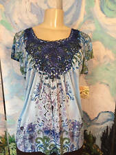 ONE WORLD L NEW BLUE/GREEN MIX ARTSY ROUND LACE NECK STUDDED CAP SLEEVE TOP