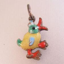 Vintage 1930's German .835 Silver & Enamel Duck Bird Charm Pendant Jewelry
