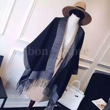 2016 Women Cashmere Scarf Patchwork Plaid Poncho Wrap Shawl Blanket Cloak Cape